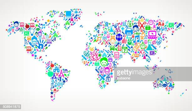 World Map on educational royalty free vector art Pattern
