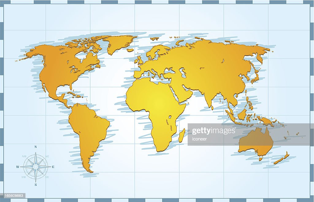 World map on grid vector art getty images world map on grid vector art gumiabroncs Gallery