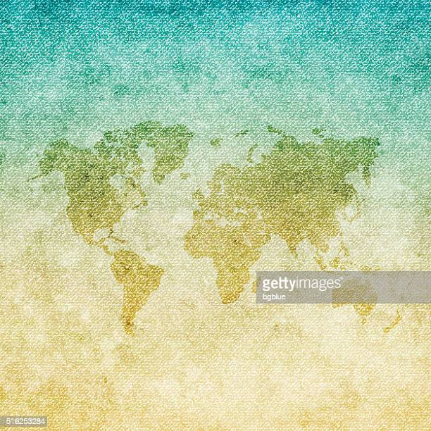 world map on grunge canvas background - country geographic area stock illustrations, clip art, cartoons, & icons