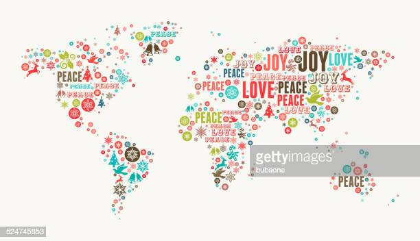 world map on holiday christmas white background - joy stock illustrations