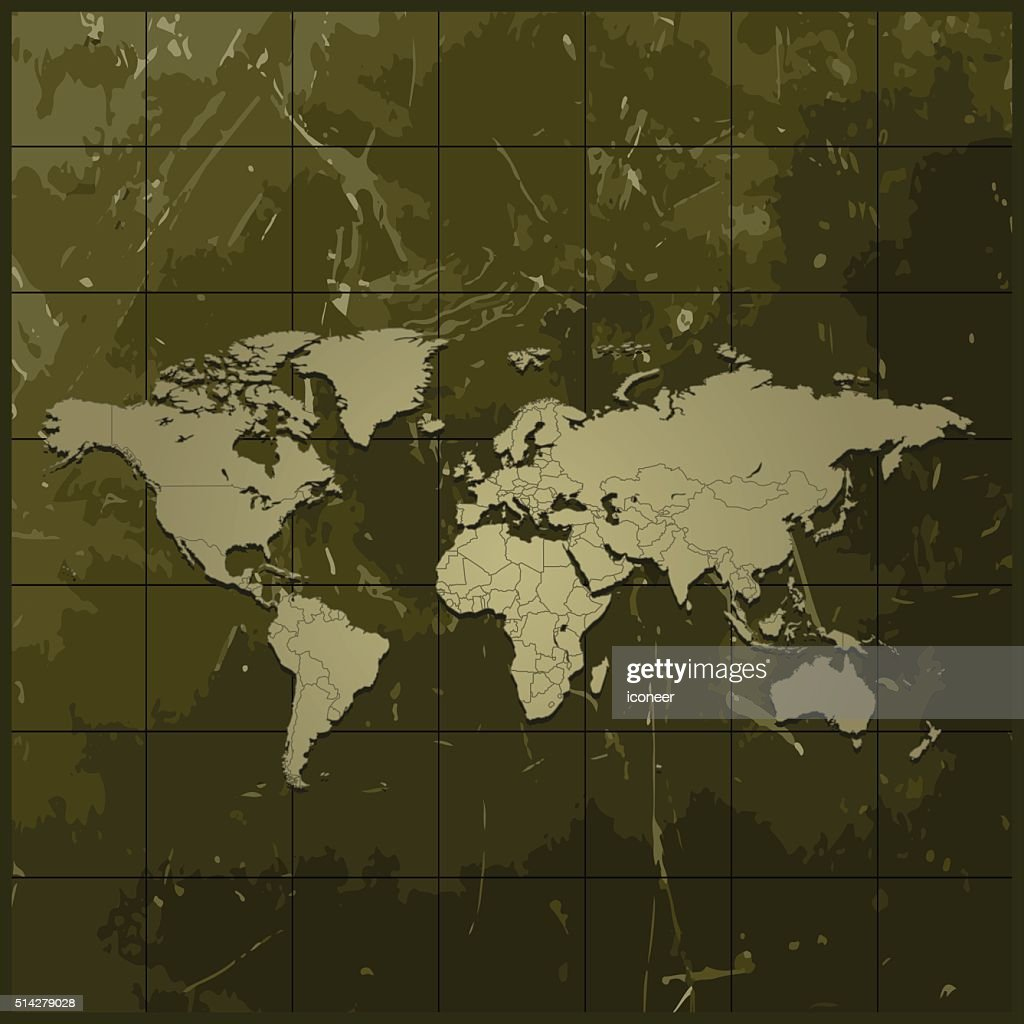 World map on olive green grunge background vector art getty images world map on olive green grunge background vector art gumiabroncs Images