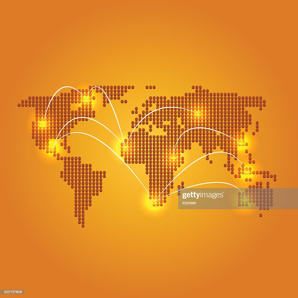 world map on orange backgound with city lights and connections vector art