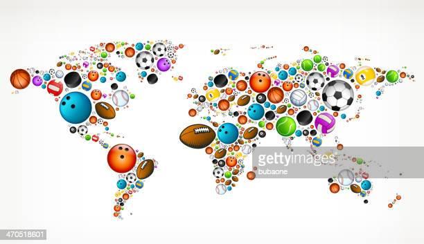 illustrations, cliparts, dessins animés et icônes de carte du monde sur ballons de sport - world sports championship