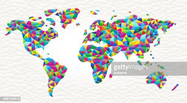 world map on triangular pattern mosaic royalty free vector art - free mosaic patterns stock illustrations