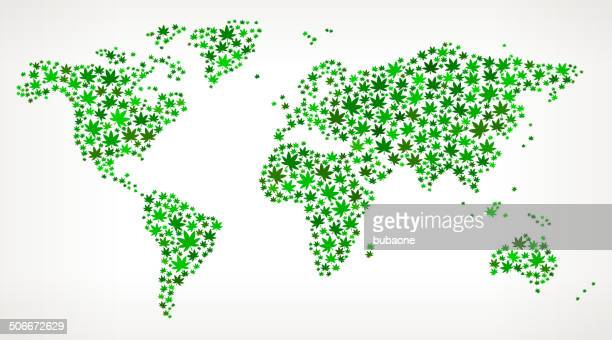 world map on weed royalty free vector art pattern - icon collage stock illustrations