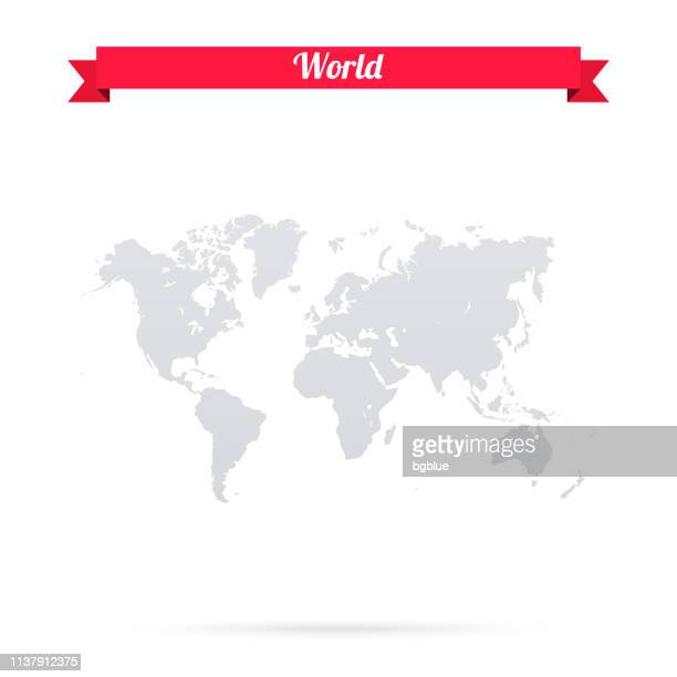 illustrazioni stock, clip art, cartoni animati e icone di tendenza di world map on white background with red banner - europa continente