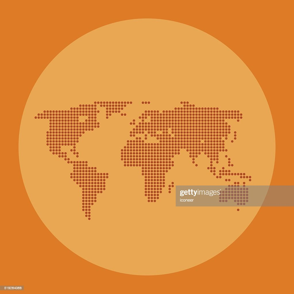World map orange color made of dots on circle background vector art world map orange color made of dots on circle background vector art gumiabroncs Choice Image