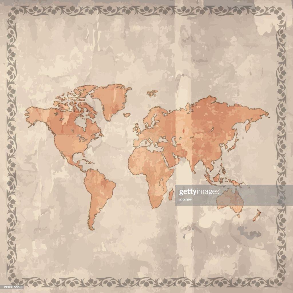 World map orange grunge retro style on wooden background vector art world map orange grunge retro style on wooden background vector art gumiabroncs Gallery