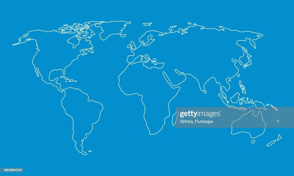World map outline graphic freehand drawing on blue background vector world map outline graphic freehand drawing on blue background vector illustration vector art gumiabroncs Images