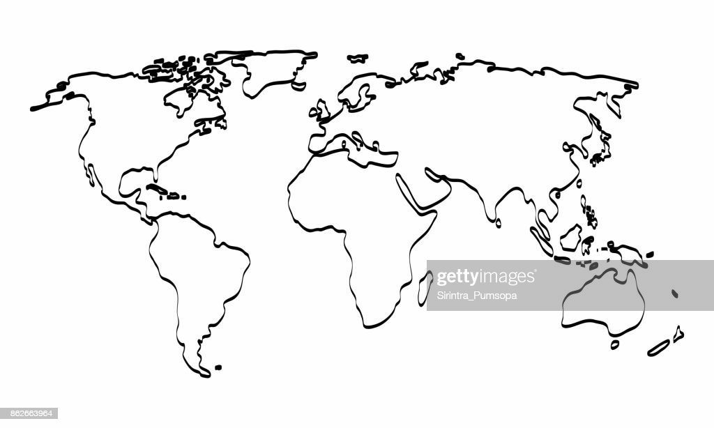 World Map Outline Graphic Freehand Drawing On White Background. Vector  Illustration : Vector Art