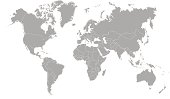 world map outline in gray color