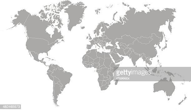 world map outline in gray color - asia stock illustrations