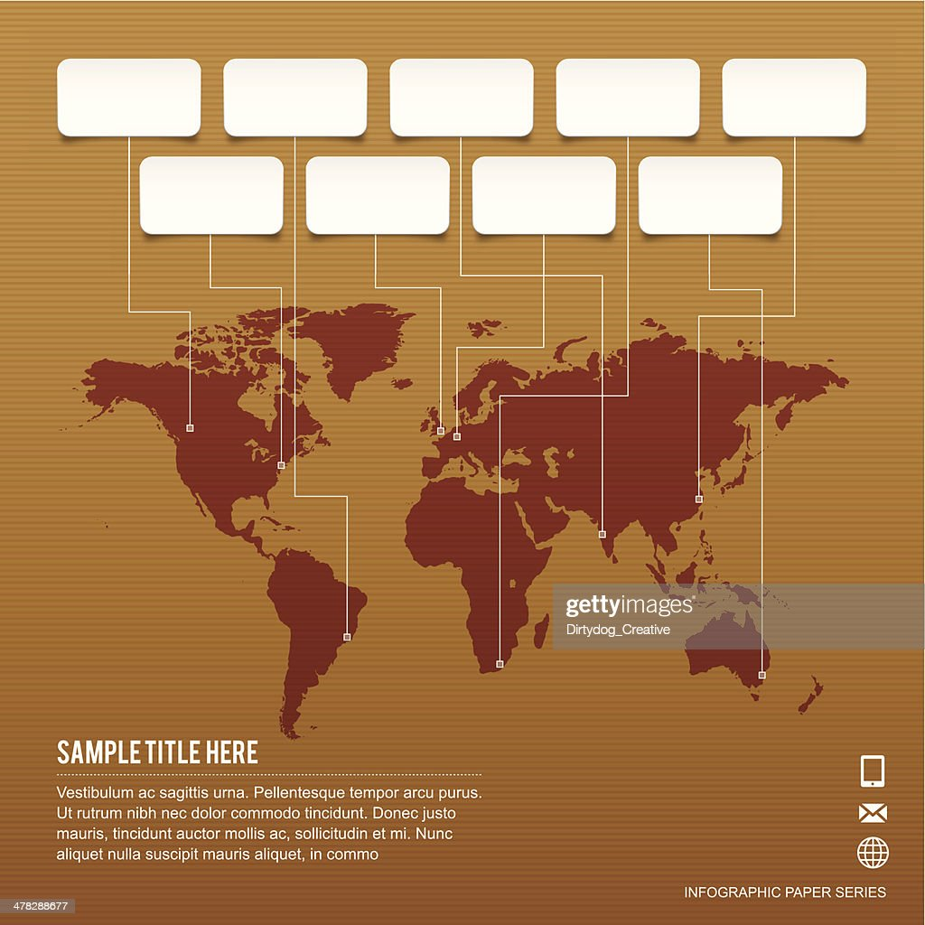 World map paper infographic pinpointing some major global cities world map paper infographic pinpointing some major global cities vector art gumiabroncs Image collections