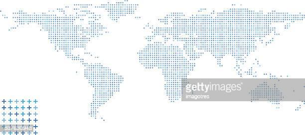 world map - pattern design - plus sign stock illustrations, clip art, cartoons, & icons
