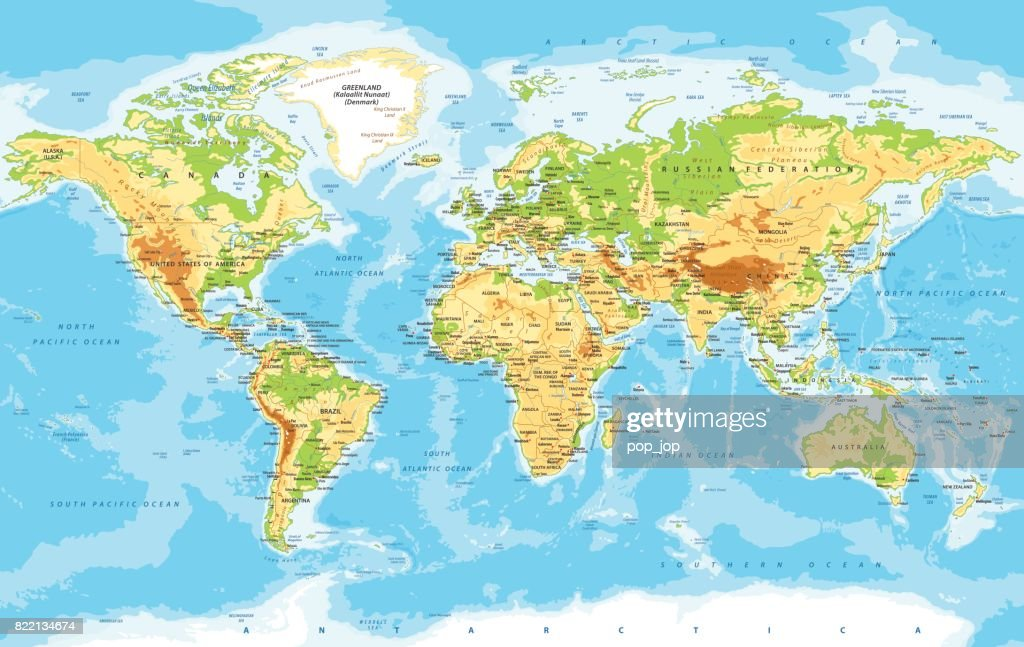 World Map Physical Vector : stock illustration