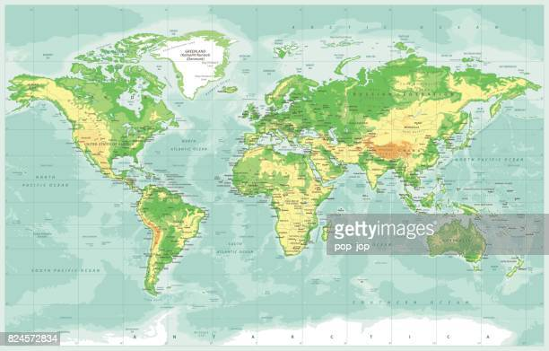 World Map Physical Vector