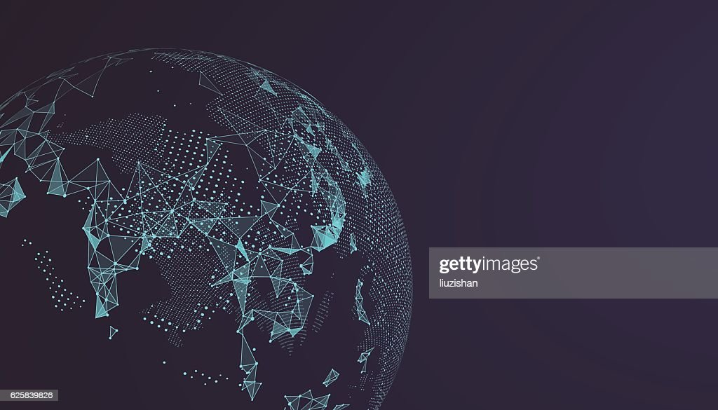World map point, line, composition, representing the global.