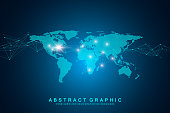 World map point with global technology networking concept. Digital data visualization. Lines plexus. Big Data background communication. Scientific vector illustration