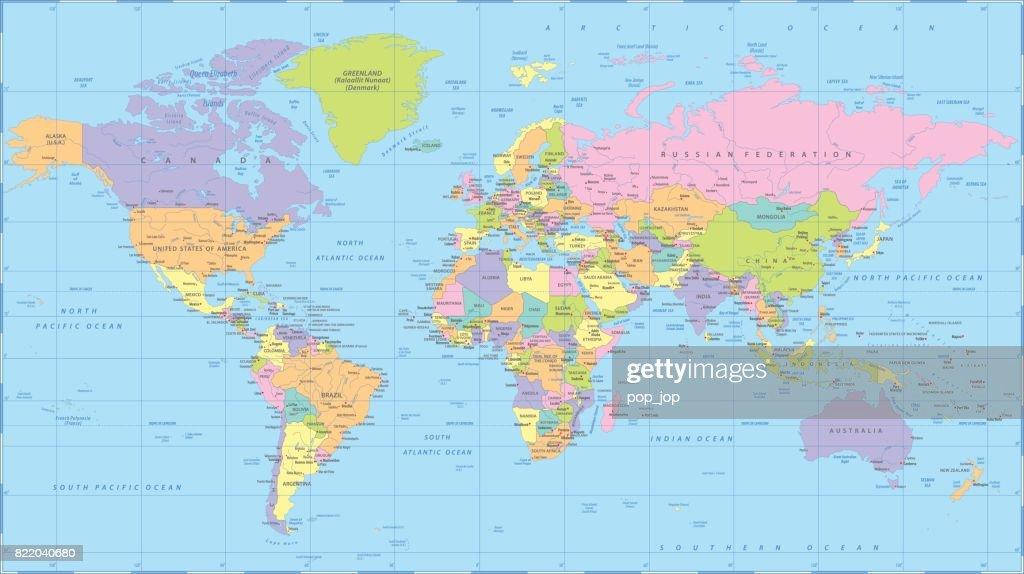 World Map Political Vector : stock illustration