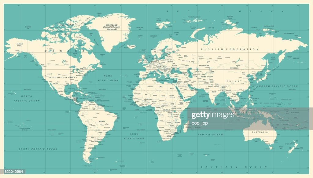 World Map Political Vintage Vector : stock illustration