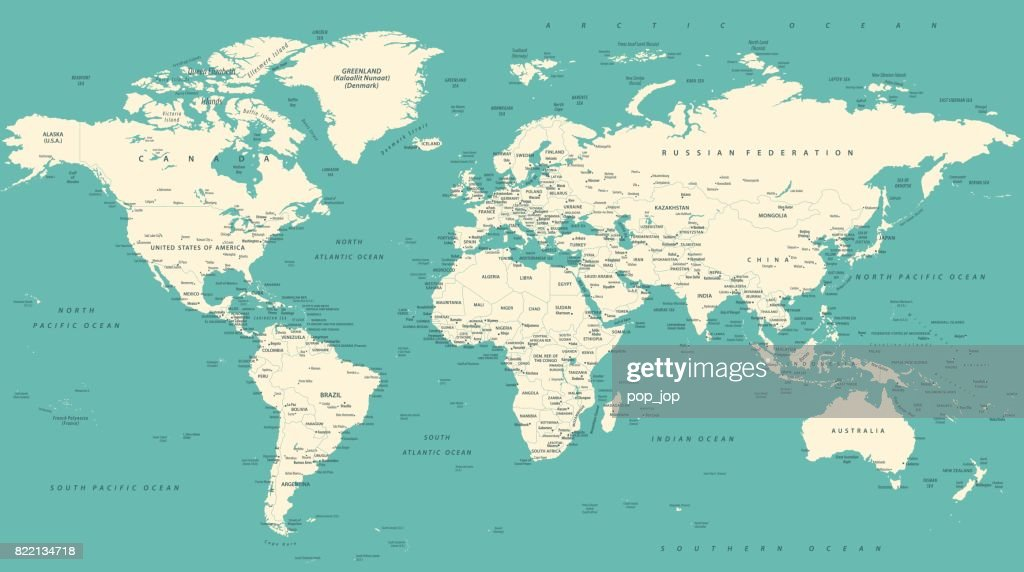 World Map Political Vintage Vector : stock illustration