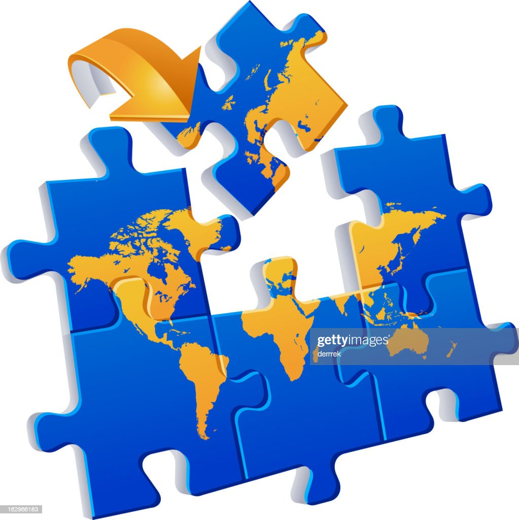World map puzzle global communications vector art getty images world map puzzle global communications vector art gumiabroncs Choice Image