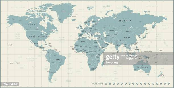 World Map. Retro Vector illustration
