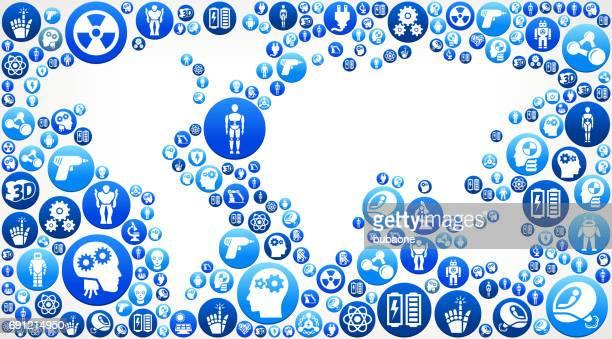 世界地図のロボットとロボット ベクトル ボタン パターン - ロボット手術点のイラスト素材/クリップアート素材/マンガ素材/アイコン素材