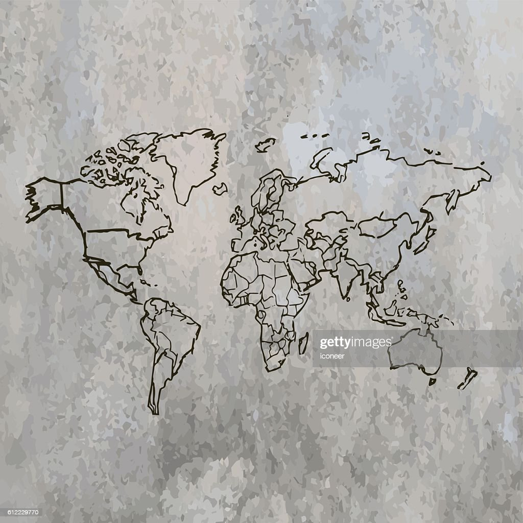 World map scribbled on grey stone wall background vector art getty world map scribbled on grey stone wall background vector art gumiabroncs Gallery