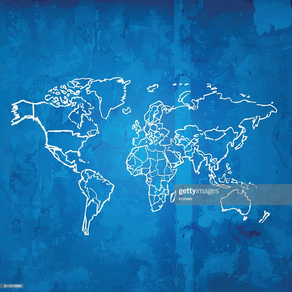 World map scribbled white on blueprint grid grunge background vector world map scribbled white on blueprint grid grunge background vector art malvernweather Images