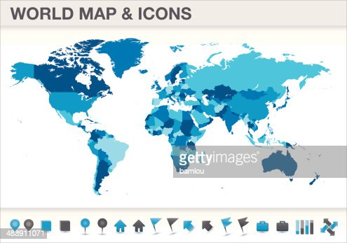 World Map Seperated Countries With Icons Vector Art Getty Images - Earth map countries