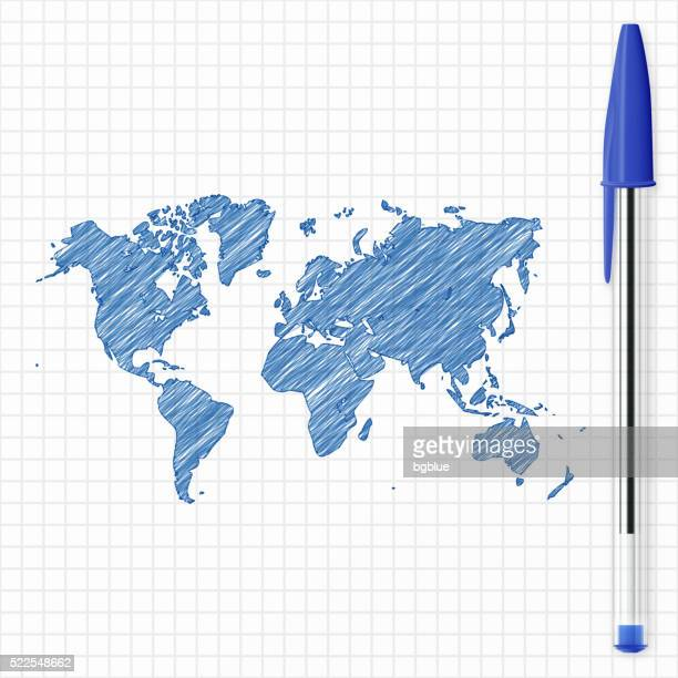 world map sketch on grid paper, blue pen - ballpoint pen stock illustrations, clip art, cartoons, & icons