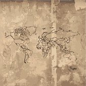 World Map sketched on old wooden background