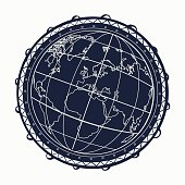 World map, symbols, travel, tourism. Surreal graphics, tattoo Planet.