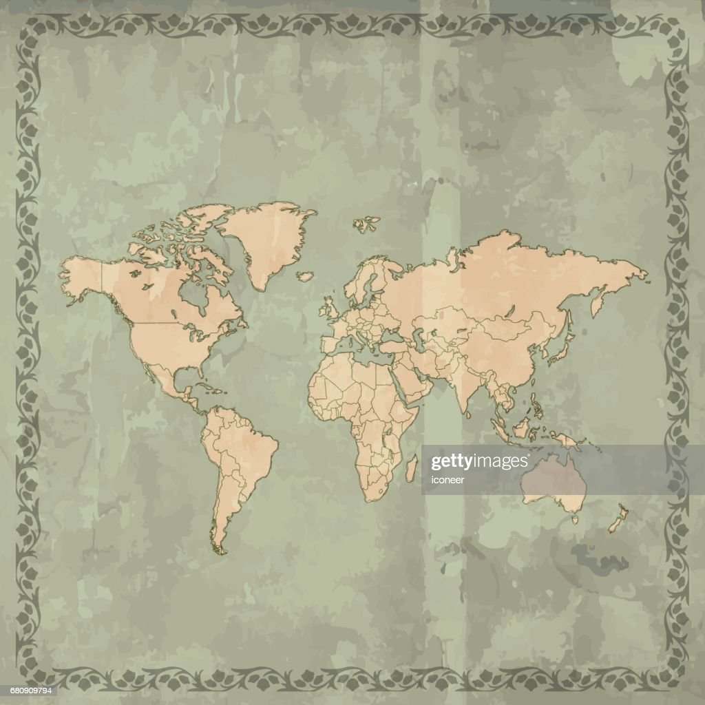 World map teal grunge retro style on wooden background vector art world map teal grunge retro style on wooden background vector art gumiabroncs Gallery