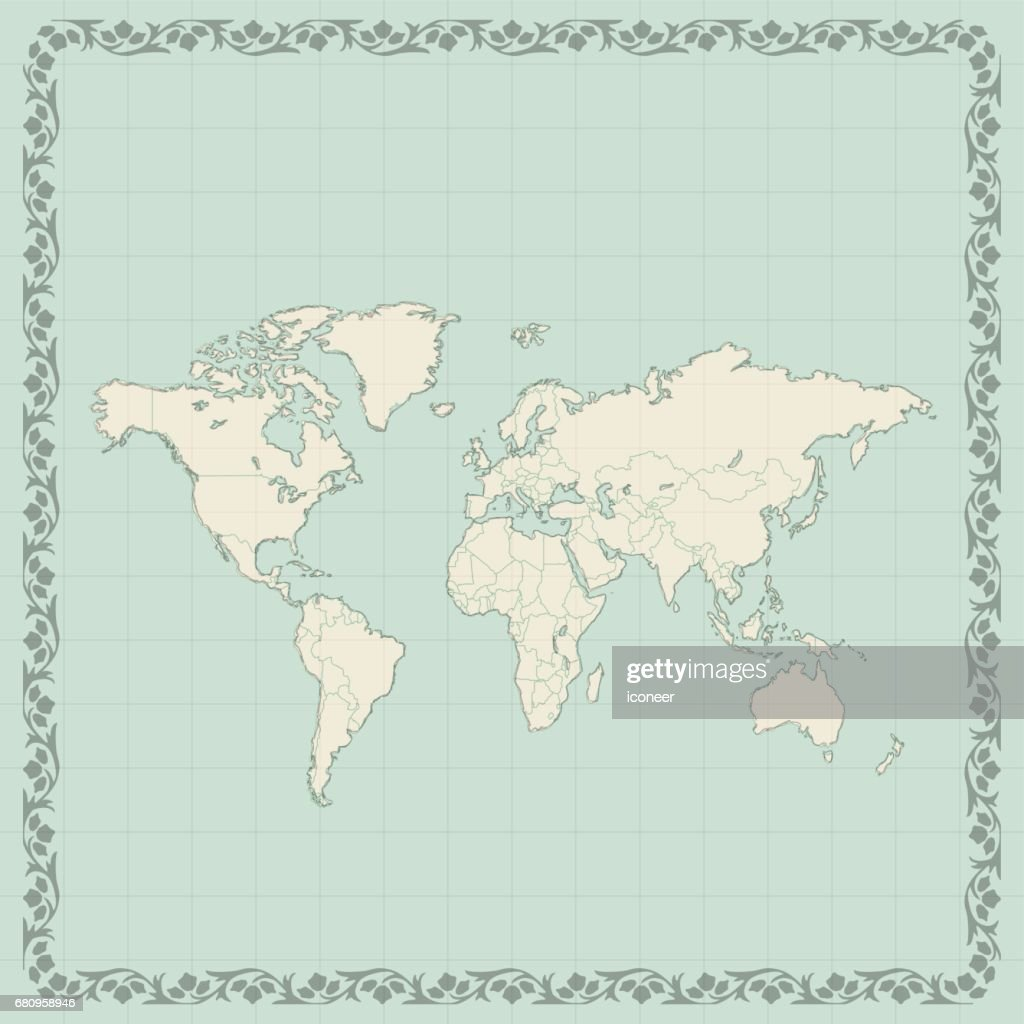 World map teal retro style on wooden background vector art getty world map teal retro style on wooden background vector art gumiabroncs Gallery