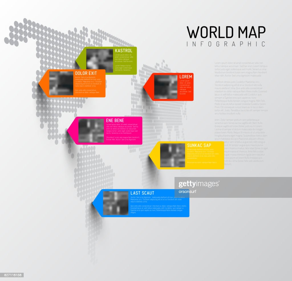 World map template with photo pins