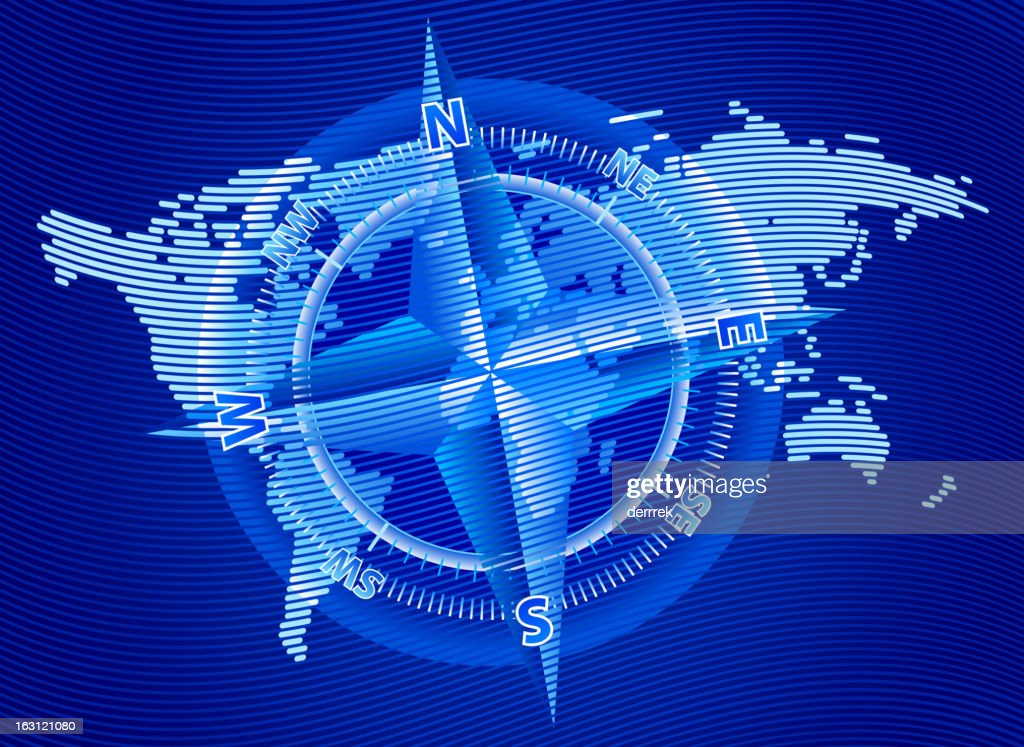 World Map Travel Compass Navigation stock illustration - Getty Images