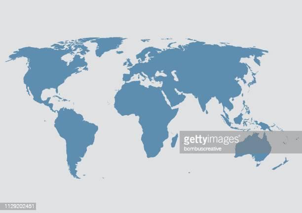illustrazioni stock, clip art, cartoni animati e icone di tendenza di mappa del mondo - paese area geografica