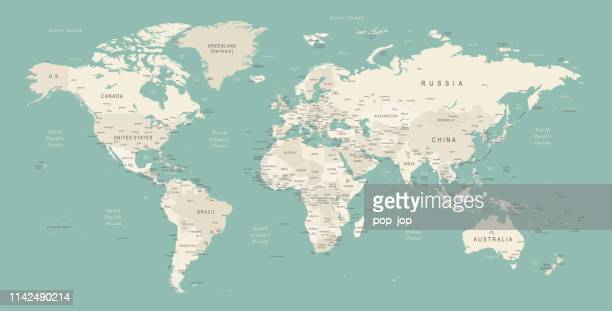 illustrazioni stock, clip art, cartoni animati e icone di tendenza di world map - carta geografica