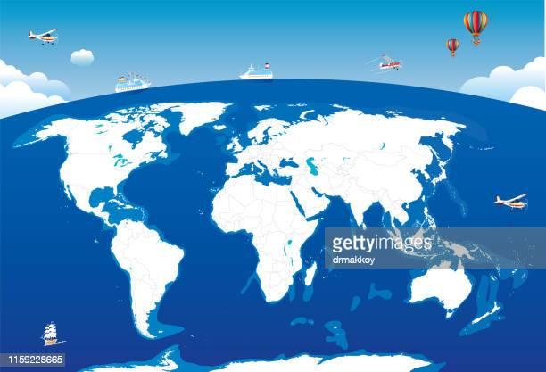 world map - pacific ocean stock illustrations