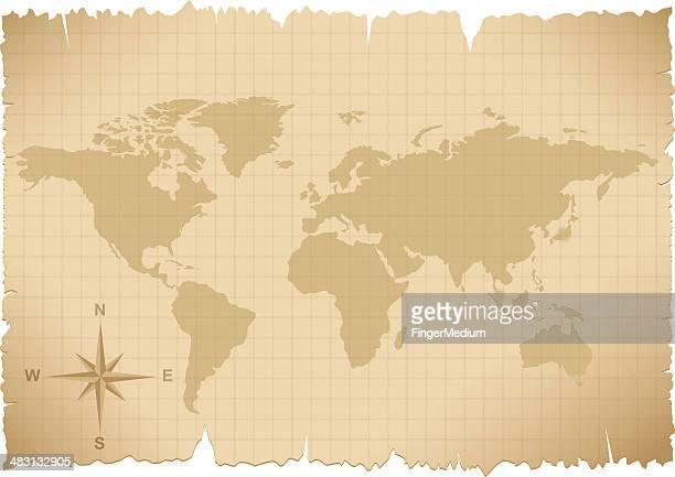 world map - ancient stock illustrations, clip art, cartoons, & icons