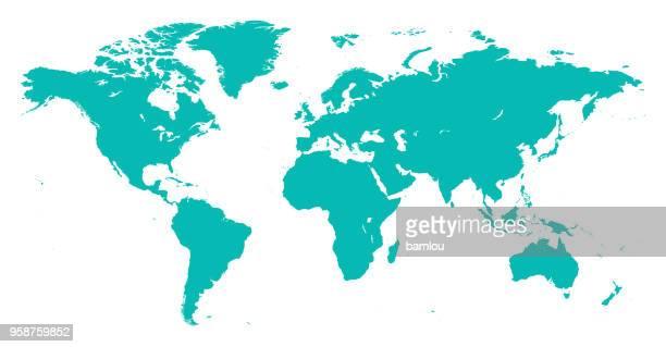 世界マップ  - ターコイズブルー点のイラスト素材/クリップアート素材/マンガ素材/アイコン素材