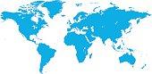 World map vector illustration isolated on white background