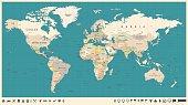 World Map Vector Vintage. Detailed illustration of worldmap