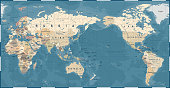 World Map Vintage Old Retro - Asia in Center