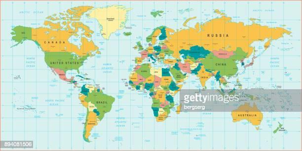 世界地図。ビンテージ ベクトル図 - 南点のイラスト素材/クリップアート素材/マンガ素材/アイコン素材