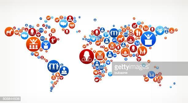 ilustrações, clipart, desenhos animados e ícones de mapa mundial de voto e eleições eua patrióticas ícone padrão - usa