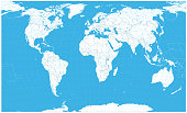 World Map White Color. No text - borders and main water objects