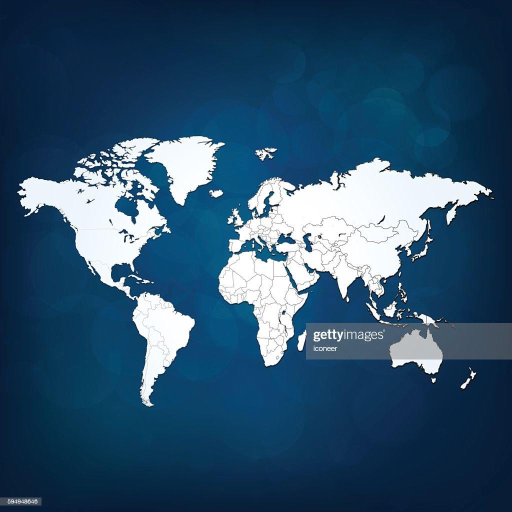 World map white light on dark blue sky background vector art world map white light on dark blue sky background vector art sciox Image collections